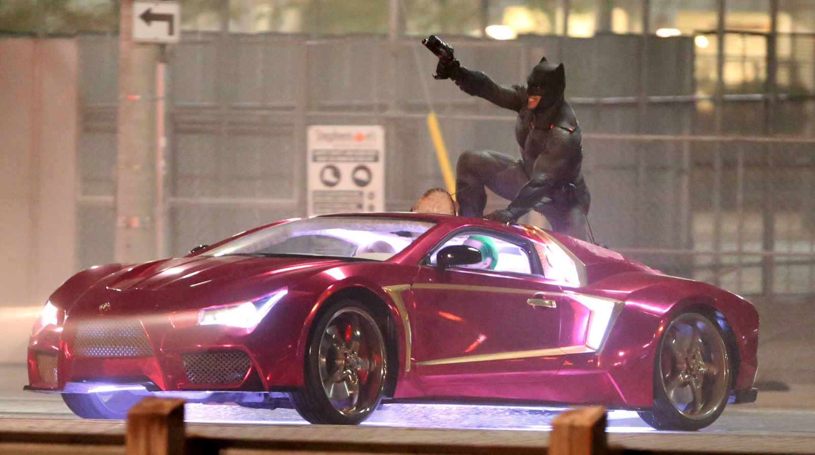 suicide squad set footage shows the joker and batman in dramatic